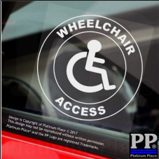 1 x Wheelchair Access-Round-Window Sticker-Sign,Car,Badge,Disabled,Warning,Notice